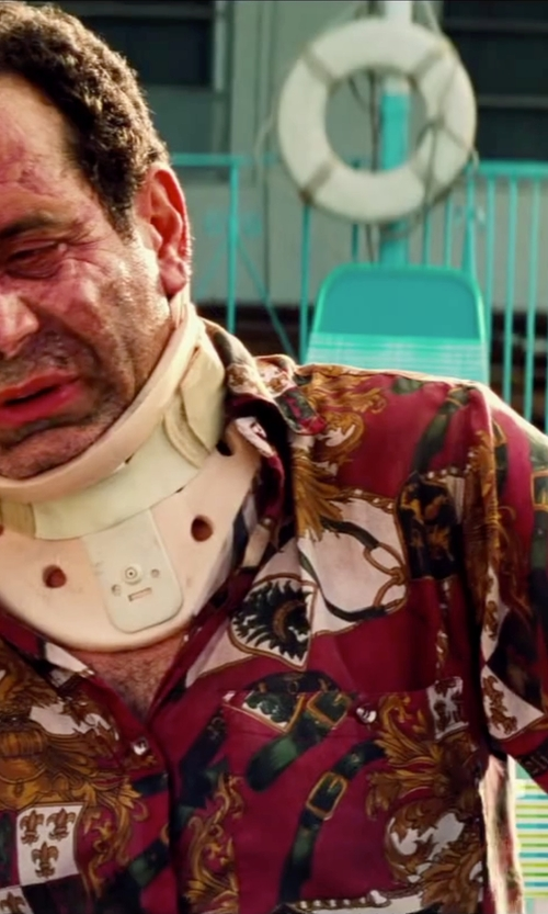 Tony Shalhoub with River Island Red Abstract Print Short Sleeve Shirt in Pain & Gain