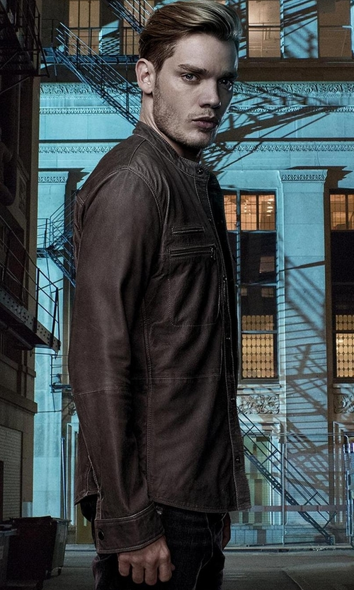 Dominic Sherwood with John Varvatos Goat Suede Double Zip Jacket in Shadowhunters