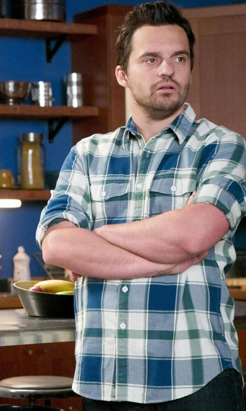 Jake Johnson with Sovereign Code Prescott Plaid Regular Fit Button Down Shirt in New Girl