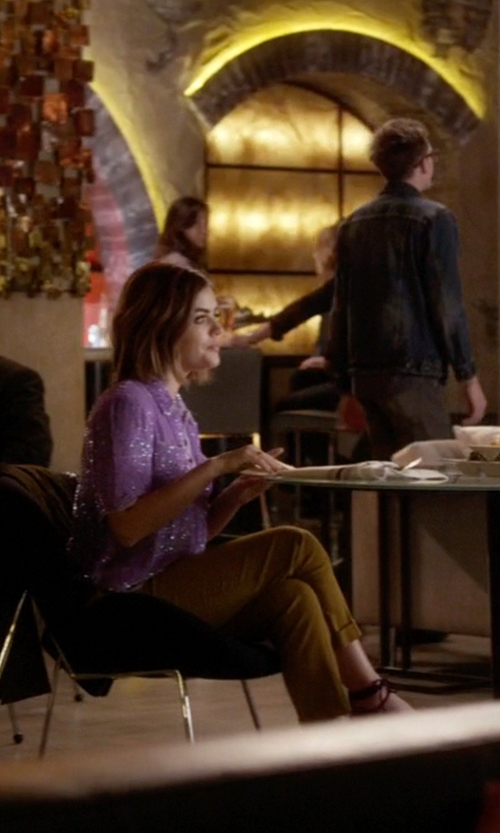 Lucy Hale with 3.1 Phillip Lim Cropped Pencil Trousers in Pretty Little Liars