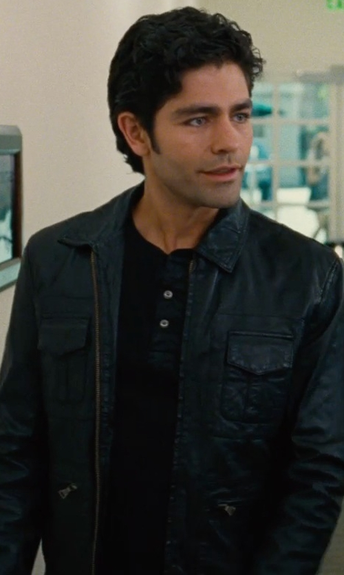 Adrian Grenier with Ralph Lauren Black Label Short-Sleeve Henley Shirt in Entourage