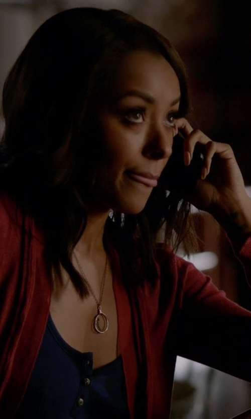 Kat Graham with Nordstrom Collection Cashmere Cardigan in The Vampire Diaries