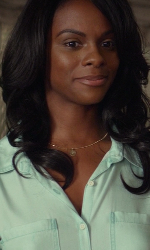 Tika Sumpter with Roberto Coin Yellow Gold Love Plus Necklace in Ride Along