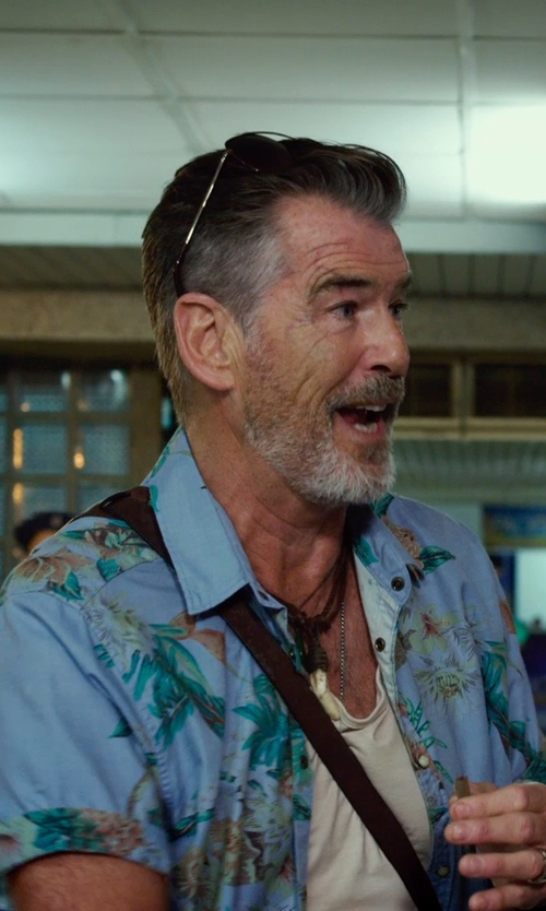 Pierce Brosnan with Tommy Bahama 'Medici Meadows' Original Fit Silk & Cotton Campshirt in No Escape