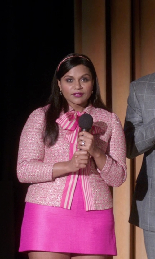 Mindy Kaling with Victoria Victoria Beckham Leather A Line Shift Dress in The Mindy Project
