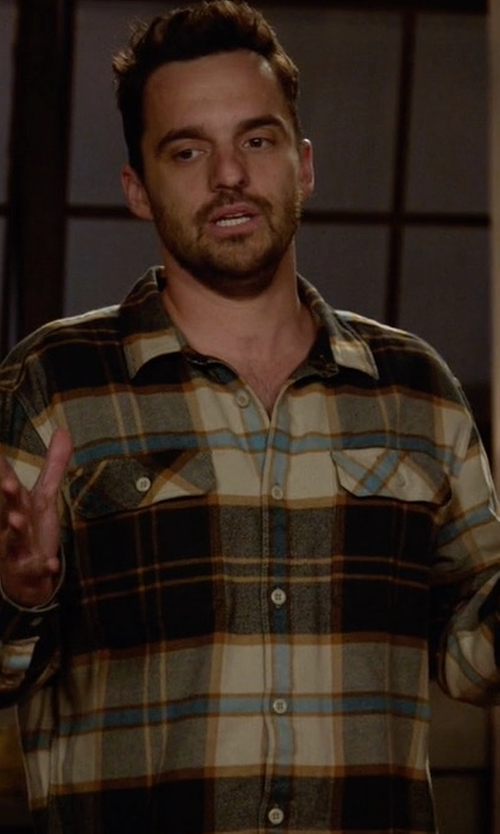 Jake Johnson with Patagonia Fjord Flannel Shirt in New Girl