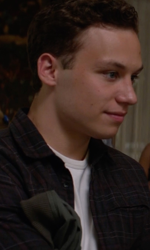Finn Cole with Quiksilver Men's Sound Touch Plaid Button-Down Shirt in Animal Kingdom