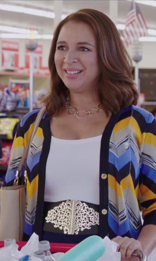 Maya Rudolph with Michael Michael Kors Chevron Button-Down Cardigan Top in Sisters