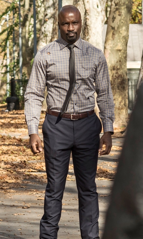 Mike Colter with Dockers Straight Fit Flat Front Pants in Marvel's Luke Cage