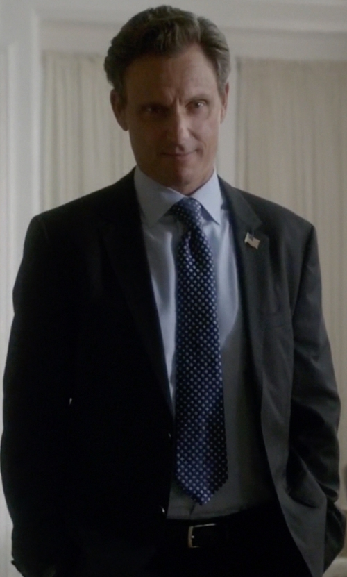 Tony Goldwyn with Eton Solid Fine-Twill Dress Shirt in Scandal