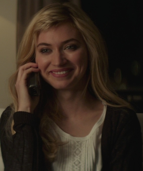 Imogen Poots with Veronica Beard Sleeve Less Lace Inset Blouse in That Awkward Moment