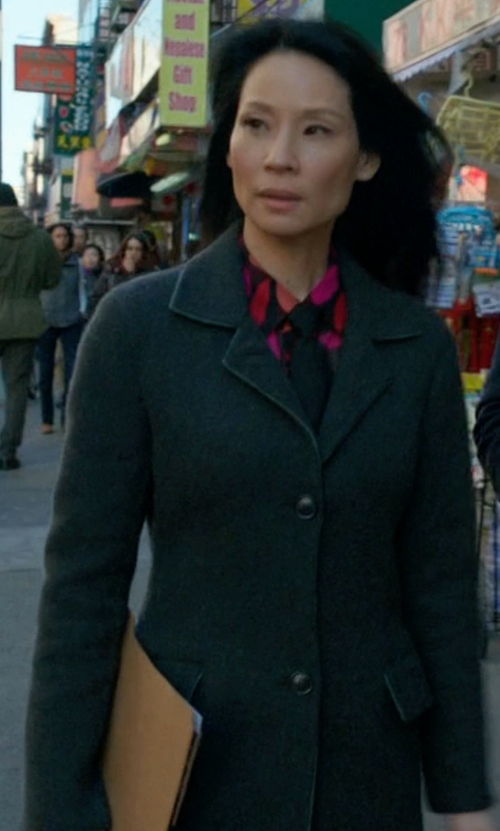 Lucy Liu with Herno Single Breasted Short Coat in Elementary