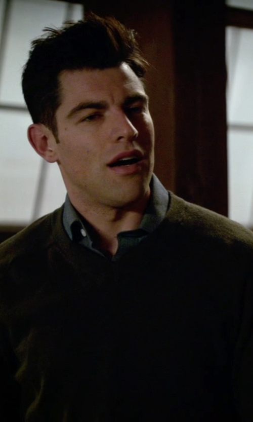 Max Greenfield with Bonobos Castlerock Cashmere V-Neck Sweater in New Girl