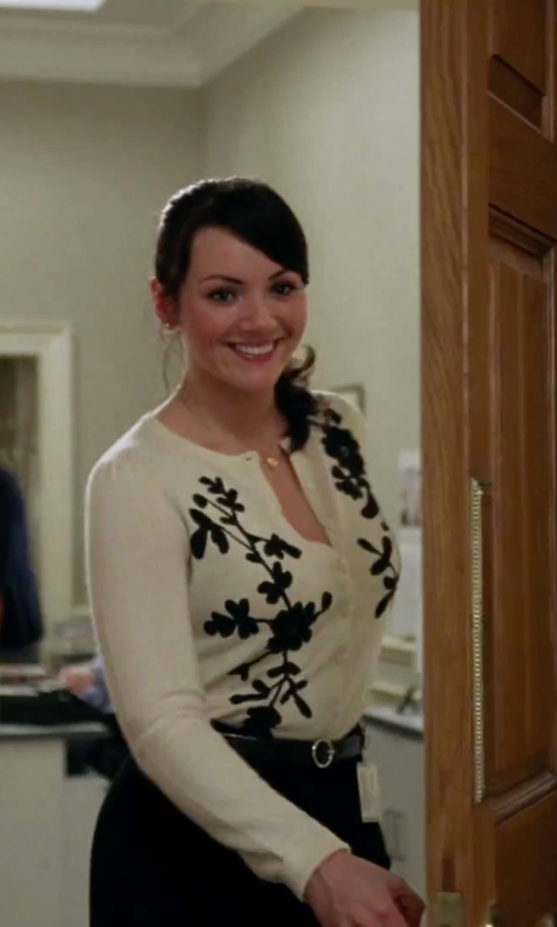Martine McCutcheon with Maurizio Pecoraro Printed Knitted Cardigan in Love Actually