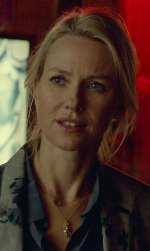 Naomi Watts with Majorica Pearl Cluster Vermail Chain Pendant Necklace in While We're Young
