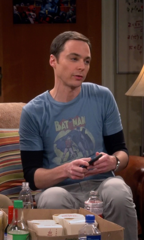 Jim Parsons with TV Store Online Batman & Robin In The Spotlight Slate Blue Mens T-Shirt in The Big Bang Theory