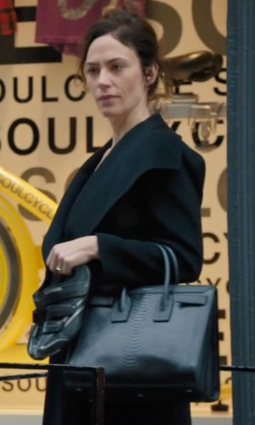 Maggie Siff with Saint Laurent Sac de Jour Small Python-Stamped Tote Bag in Billions