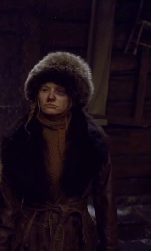 Jennifer Jason Leigh with Fabulous Furs Faux-Fur Stretch Hat in The Hateful Eight