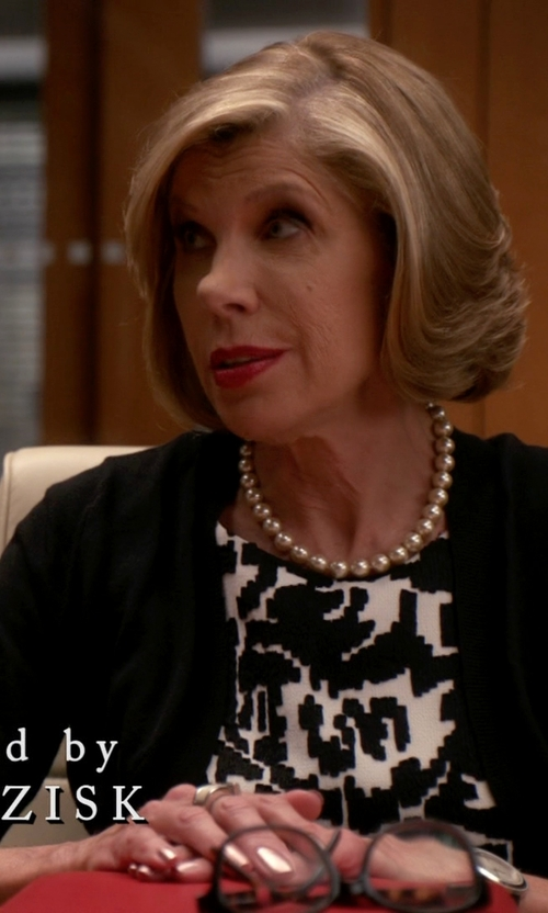 Christine Baranski with Honora White Freshwater Cultured Pearl Necklace in The Good Wife