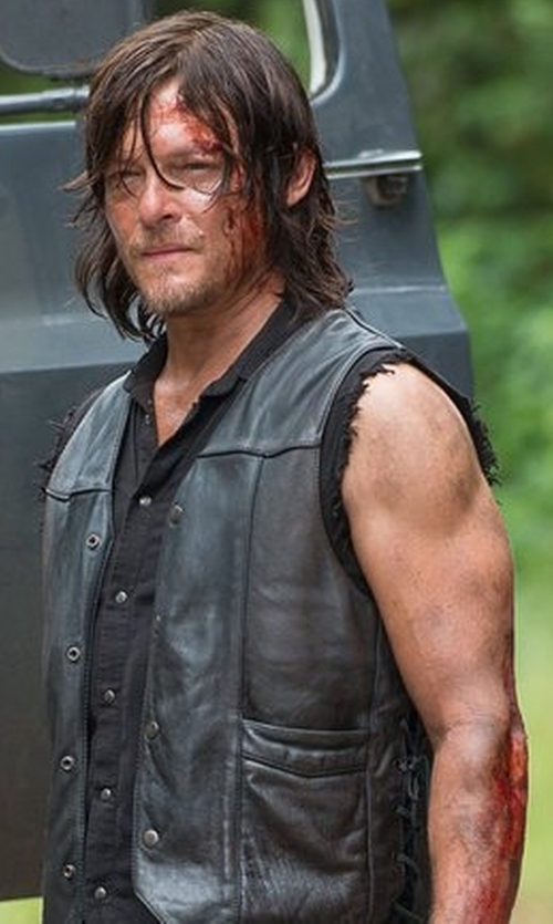 Norman Reedus with Asstd National Brand Snap-Front Leather Vest in The Walking Dead