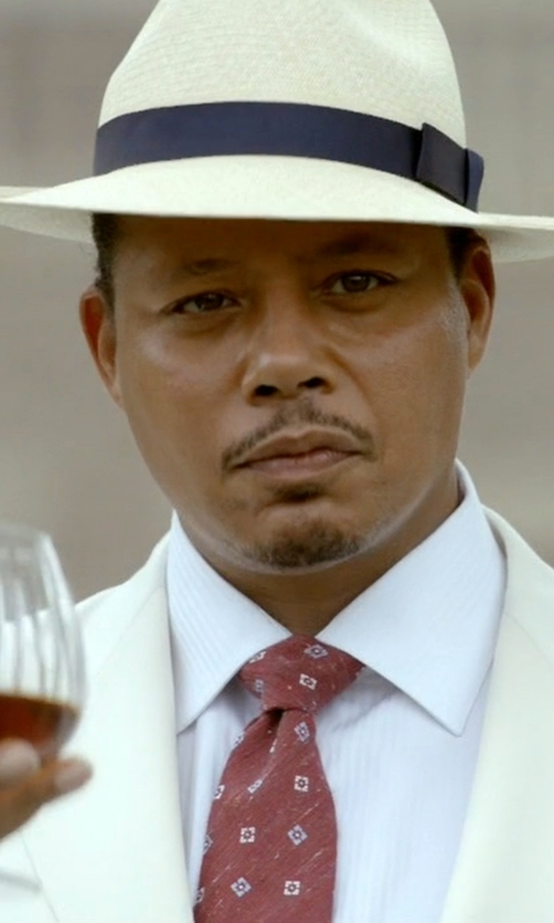 Terrence Howard  with Isaia Textured Neat-Print Silk Tie in Empire