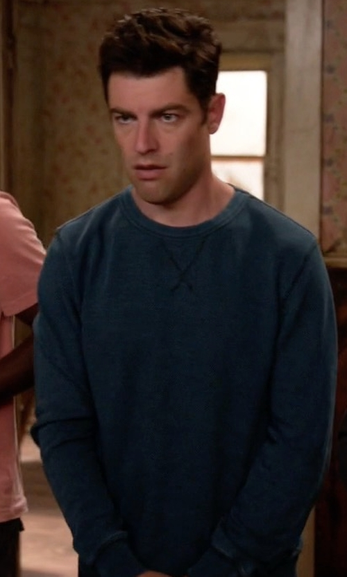 Max Greenfield with Neiman Marcus Cashmere by Billy Reid  Reid Raglan-Sleeve Cashmere Sweater in New Girl