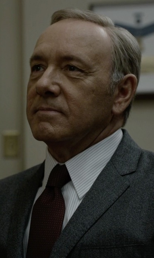 Kevin Spacey with Tom Ford Micro Dot-Print Silk Tie in House of Cards