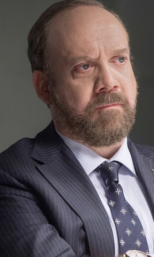 Paul Giamatti with Isaia Striped Gregory Two-Button Suit in Billions