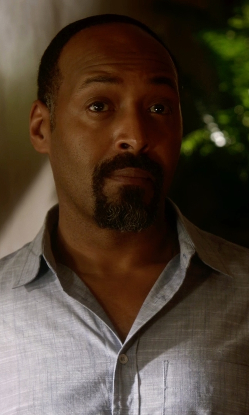 Jesse L. Martin with Gitman Tailored Fit Chambray Dress Shirt in The Flash