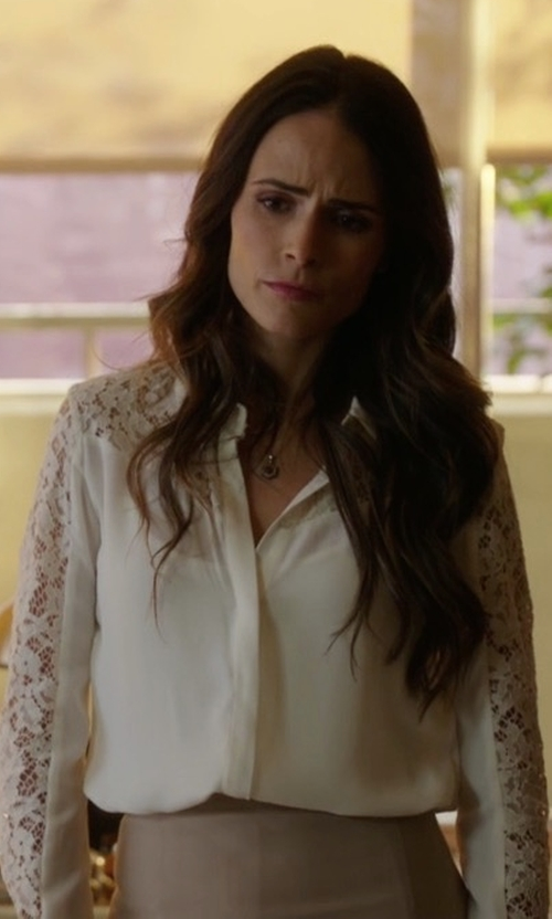 Jordana Brewster with The Kooples Lace Yoke Silk Shirt in Lethal Weapon
