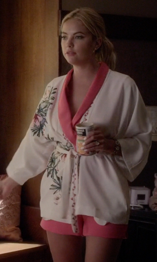 Ashley Benson with L'Agence  Satin-Collar Sleeveless Jumpsuit in Pretty Little Liars