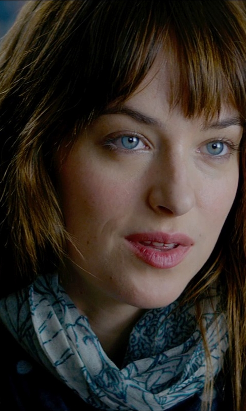 Dakota Johnson with ModCloth Dots to Discuss Scarf in Black in Fifty Shades of Grey