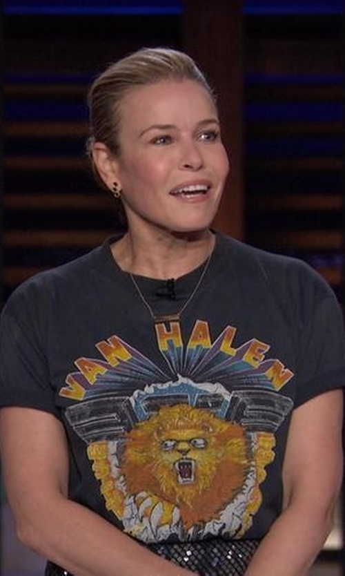 Chelsea Handler with Val Halen Store Lion Tour Shirt in Chelsea