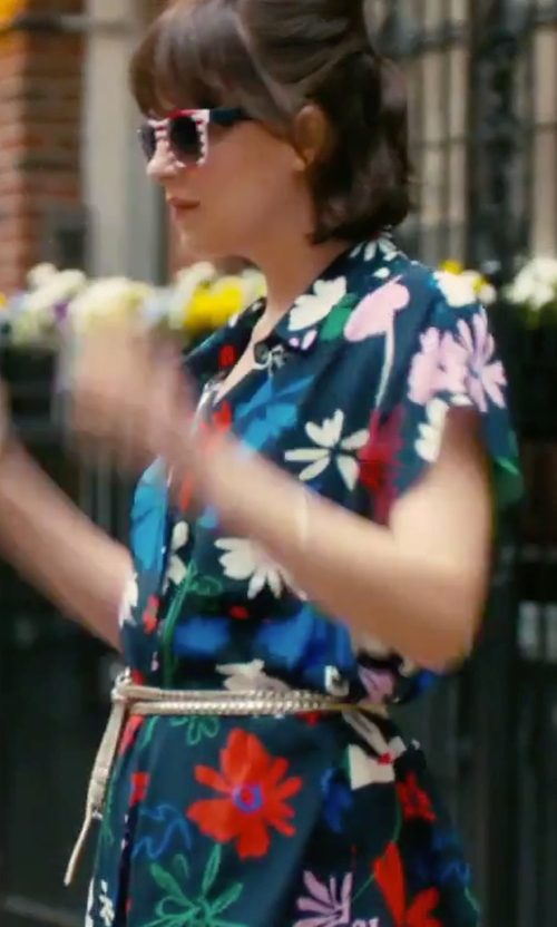 Dakota Johnson with Betsey Johnson  Floral-Print Fit & Flare Dress in How To Be Single