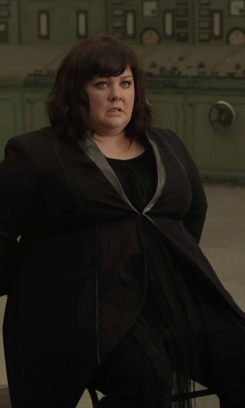 Melissa McCarthy with James Jeans Faux Leather Lapel Ponte Blazer in Spy