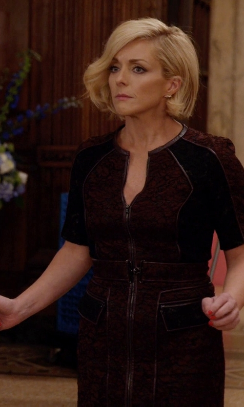Jane Krakowski with Nue By Shani Metallic Lace Dress in Unbreakable Kimmy Schmidt