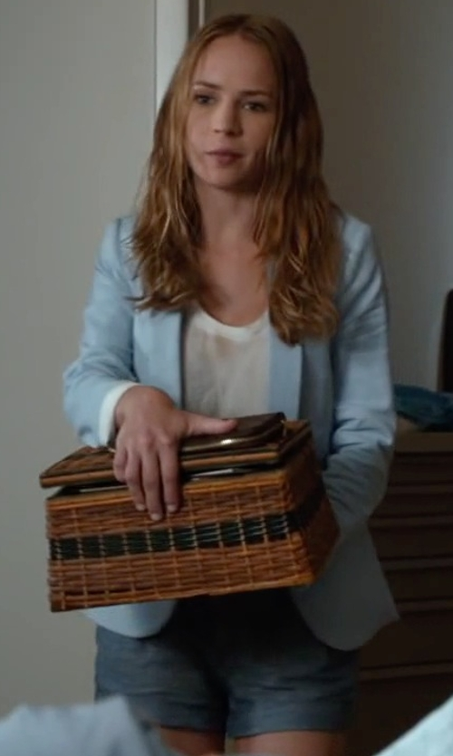 Britt Robertson with Pierre Balmain Dark Wash Denim Shorts in The Longest Ride