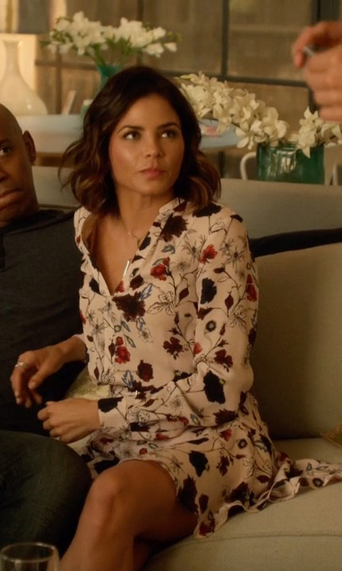 Jenna Dewan Tatum with A.L.C.	 The Way Floral-Print Dress in Supergirl