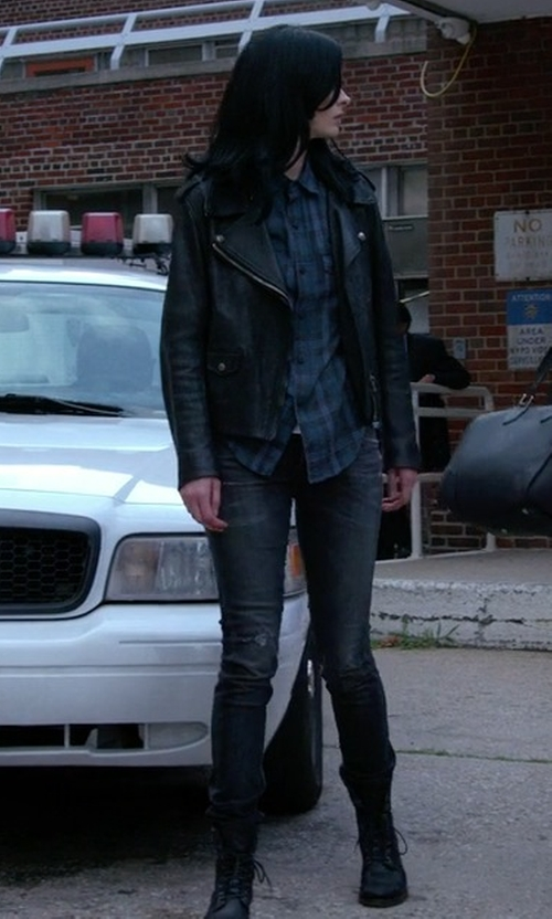 Krysten Ritter with Frye Veronica Combat Boots in Jessica Jones