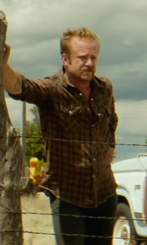 Ben Foster with Kr3w Easy Rider Long-Sleeve Flannel Shirt in Hell or High Water