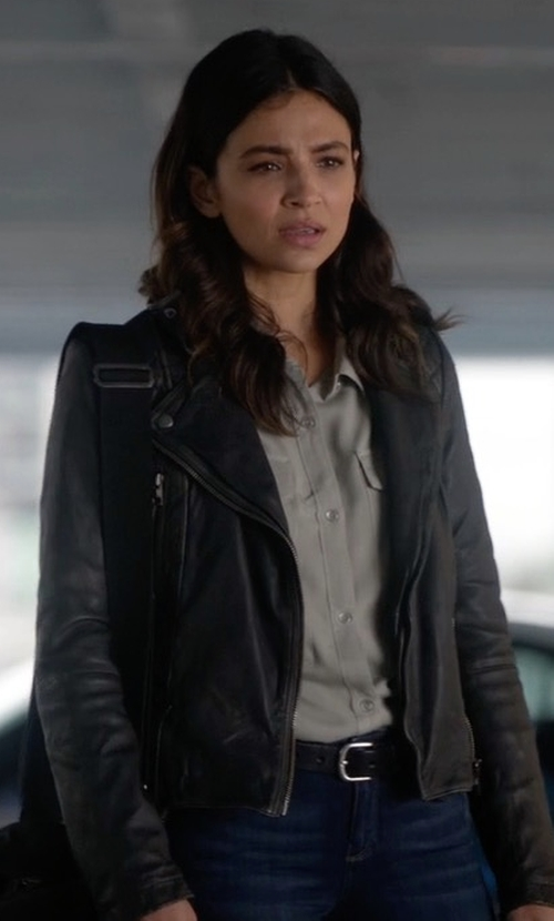 Floriana Lima with All Saints Cargo Leather Biker Jacket in Supergirl