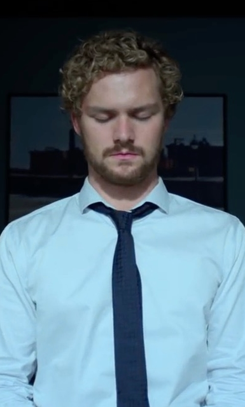 Finn Jones with Prada Houndstooth Wool And Silk Blend Tie in Marvel's Iron Fist