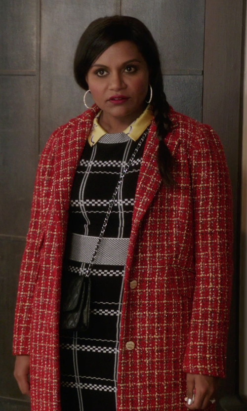 Mindy Kaling with A.L.C. 'Scott' Embroidered Check Crop Top in The Mindy Project
