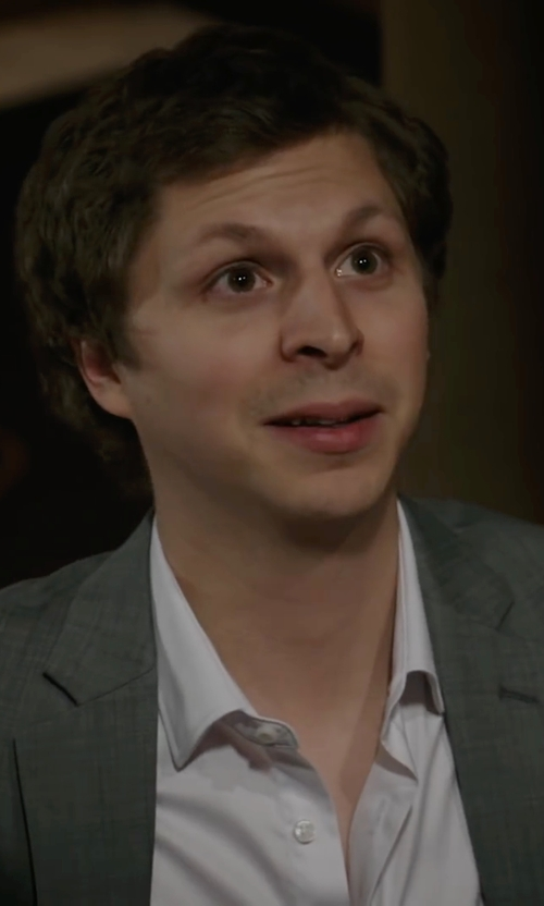 Michael Cera with Boss Hugo Boss 'Miles Us' Spread Collar Cotton Dress Shirt in A Very Murray Christmas