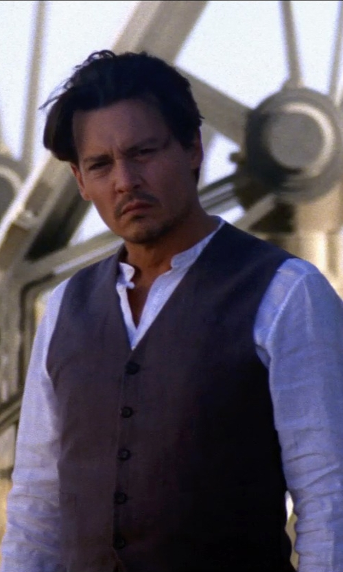 Johnny Depp with ALEXANDER MCQUEEN WOOL MOHAIR WAISTCOAT SPRING/SUMMER in Transcendence