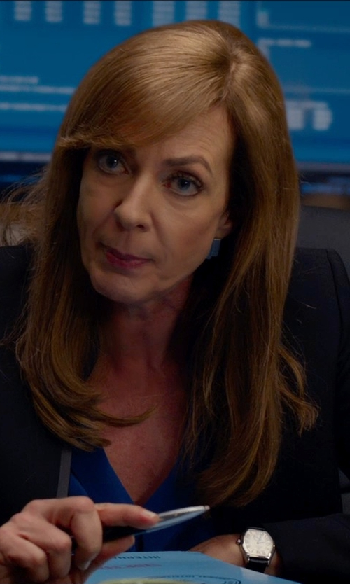 Allison Janney with Helmut Lang Scrunch Wool Blazer in Spy
