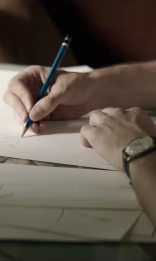 Pierre Niney with Staedtler Mars Drafting Pencils in Yves Saint Laurent