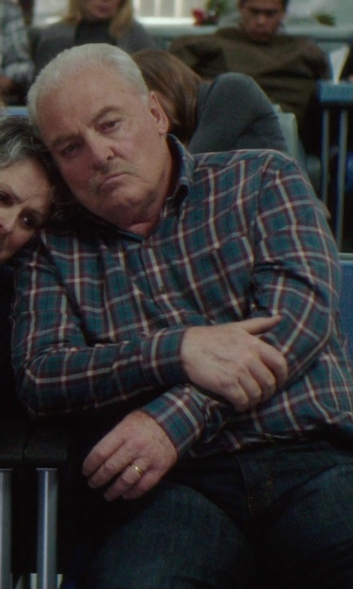 Stacy Keach with Heritage Viyella Button Down Plaid Shirt in If I Stay