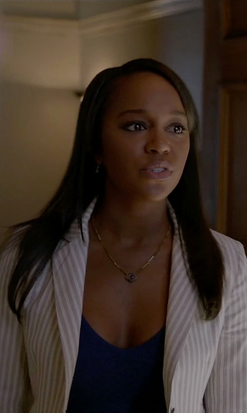 Aja Naomi King with 3.1 Phillip Lim Striped Single-Button Blazer in How To Get Away With Murder