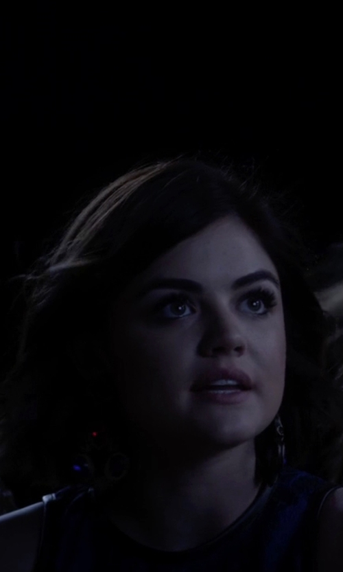 Lucy Hale with Blu Bijoux Bianca Chandelier Earrings in Pretty Little Liars